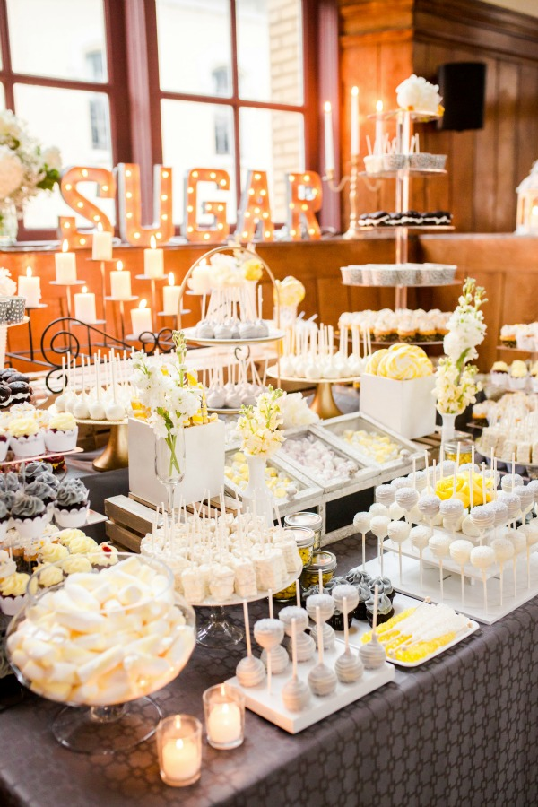 Dee Kay Events ǀ Grey & Yellow Dessert Bar ǀ NYC Modern Vintage Wedding ǀ NJ Wedding Planner ǀ Idalia Photography